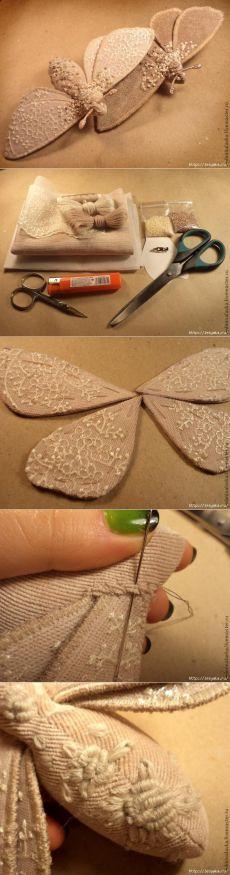 Мотылек - текстильная брошь бабочка своими руками