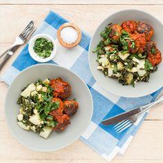 Lamb Meatballs with Tomato Sauce and Feta Potatoes Lamb Meatballs, Weekly Meals, Gluten Free Dinner, Meals For The Week, Tomato Sauce, Feta, Dinners, Good Food, Potatoes