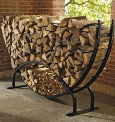 Steel Log Racks - traditional - fireplace accessories - - by FRONTGATE Outdoor Firewood Rack, Firewood Holder, Indoor Firewood Storage, Log Holder, Traditional Fireplace, Traditional Homes, Into The Woods, Fireplace Accessories, Welding Projects