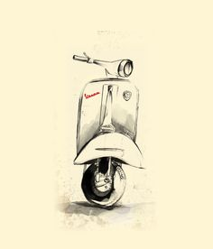 Vespa Art Print by Juan Alonzo Worldwide shipping available at Just one of millions of high quality products available Moto Vespa, Vespa Logo, Vespa Vintage, Motos Vintage, Retro Vintage, Lambretta, Piaggio Vespa, Motorcycle Art, Bike Art