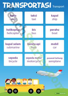 Teaching Resource: A transport poster to use in the classroom when teaching Indonesian. French Lessons, Spanish Lessons, Learning Spanish, Learning Italian, Learning Shapes, Spanish Activities, German Language Learning, Language Study, Language Quotes