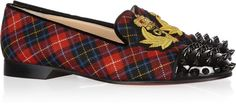 CHRISTIAN LOUBOUTIN Intern Tartan Canvas and Patentleather Loafers