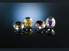 Lovely colorful vintage cufflinks! Fröhliche Manschettenknöpfe! Sterling Silber 925 bunte Steine USA um 1980