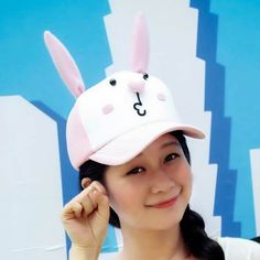 c8ce6797e5f Pink rabbit baseball caps for girls creative animal cap cheap