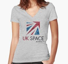 """UK Space Agency"" Women's Fitted V-Neck T-Shirts by Lidra 
