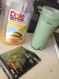 My FAV way to get my green shake in - Greenberry Shakeology! Mixed with 100% Dole Orange Pineapple Banana Juice and ice.. and thats it! Over 70 fruits and veggies in one meal - its my dense daily dose of nutrition and a whole lot of yumminess  ~ check it out! www.FittabulousLife.com