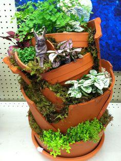 Broken pot fairy garden by Kristin Middleton