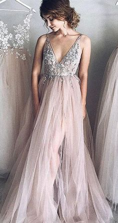 A-Line Prom Dress,Deep V-Neck Prom Gown,Tulle Prom Dress,Long Evening Dress with Appliques #beading #tulle #prom #formal #okdresses #longpromdresses