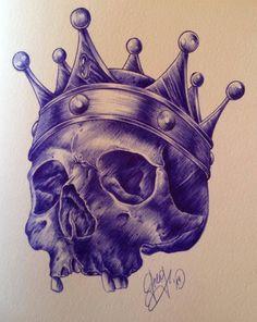 skull / crown / couronne / dessin / sketch / drawing / croquis / ballpen / art