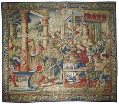 A FLEMISH RENAISSANCE OLD TESTAMENT BIBLICAL TAPESTRY, PROBABLY `DAVID AND BATHSHEBA', FROM THE SERIES THE STORY OF DAVID, BRUSSELS WORKSHOP SECOND QUARTER 16TH CENTURY, CIRCA 1530-1535; UNIDENTIFIED DESIGNER AND WEAVER woven in silk and wool, with groups of figures in elaborately represented contemporary fashion and finery, probably depicting The Story of David, (II Samuel 11), representing King David enthroned within his court seated underneath an elaborate tasselled canopy with a hanging…