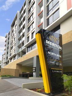 Hotel Exterior #NorthRyde #Sydney #Luxury #Accommodation #Meriton Pylon Signage, Monument Signage, Entrance Signage, Hotel Signage, Retail Signage, Exterior Signage, Outdoor Signage, Wayfinding Signage, Signage Design