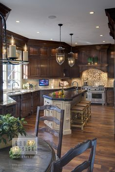 Traditional Kitchen Design by Drury Design Kitchen...different color combo, but like design