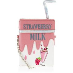 Accessorize Strawberry Milk Carton Across Body Bag found on Polyvore featuring bags, handbags, shoulder bags, embroidered handbags, red purse, straw shoulder bag, crossbody purse and accessorize handbags