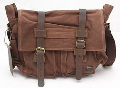 #Mens Canvas Leather Old School #Messenger Bag Coffee