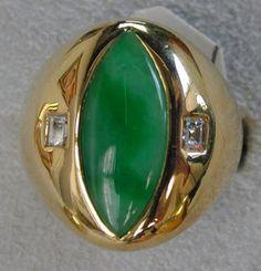 Green jadeite and diamond ring for men