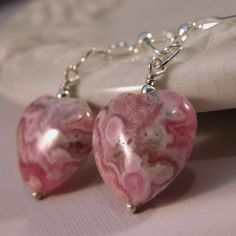 Handmade earrings - pink, white rhodocrosite heart and sterling silver | cserpentDesigns - SOLD