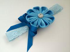 Light blue kanzashi flower headband by DulcetHandmade on Etsy