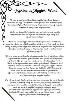 Book of Shadows: #BOS Making a Magical Wand page.