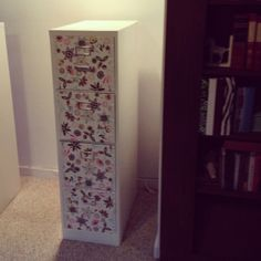 DIY custom file cabinet for my law office. I obtained the idea from a pin! Such a wonderful idea to upgrade an old boring metal file cabinet in your home or office! :) Love it! And my organization will have style now too! Love it