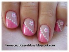 I love these nails - - French Tip Nail Designs, French Tip Nails, Toe Nail Designs, Daisy Nails, Flower Nails, Pink Nail Art, Pink Nails, Dot Nail Art, Glitter Nails