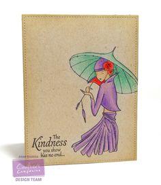 Crafter's Companion, Dana Warren, Kimono Lotus Flower, CC's Kraft Card Stock Spectrum Noir Colored Pencils @CraftersCompUS #spectrumnoir