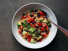 southwest quinoa: avocado, bell peppers, black beans, corn, jalapeno, red onion, tomatoes and cilantro lime vinaigrette