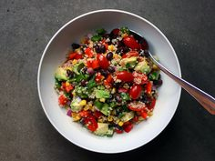 southwest quinoa: avocado, bell peppers, black beans, corn, jalapeno, red onion, tomatoes and cilantro lime vinaigrette