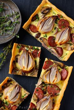 Shallot, Mushroom & Smoked Sausage Tart | Pinterest Pairings: Cupcake Vineyards Pinot Noir