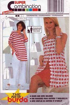 Burda 3235 Women's Maternity Coordinates Sewing Pattern Size 10-12-14-16-18-20 UNCUT Skirt Patterns Sewing, Vogue Patterns, Blouses For Women, Jackets For Women, Maternity Patterns, Blouse And Skirt, Top Pattern, Size 10, Baby