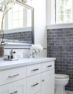 Bathroom - hardware, grey tile, vanity
