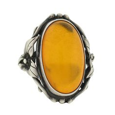 Arts & Crafts Sterling Silver & Amber Floral Motif Ring Yellow Rings, Imperial Topaz, Amber Ring, Arts And Crafts Movement, Floral Motif, Makers Mark, Antique Jewelry, Sterling Silver Rings, Art Nouveau