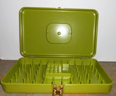 Vintage Sewing Box Plastic Green Wil Hold Thread By TheBackShak