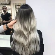Silver Ombre With Great Lengths Hair Extensions Done By