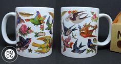 Caneca Mug Birds Pássaros Retro Vintage MOOG
