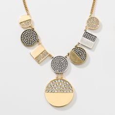 """Crystal; oxidized silver, oxidized brass, and gold plating; 16"""" to 18""""."""