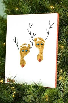 ideas for baby footprints - reindeer