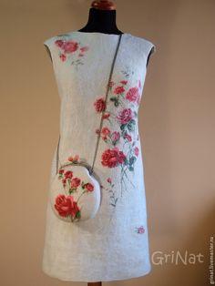 """Купить Платье""""Розы на снегу"""" - белый, розы, grinat, палантин, платье коктейльное, платье валяное"""