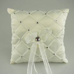 Ring Bearer Satin Pillows Wedding Occassion, 7-inch, Checkered Rhinestones, Ivory, CLOSEOUT