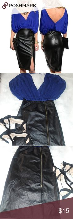 Royal Blue Two-Tone Faux leather  Dress This glam two-tone dress features a soft knit low V-neck top with loose and comfy fit. Pleather pencil cut mid-length bottom skirt with side slit with zipper accent. The fabric of skirt part of the dress is Faux Pleather. Country: USA Fabric Content: 60% POLYURETHANE 40% POLYESTER CONTRAST: 96% RAYON 4% SPANDEX Description: B: 14″ W: 11″ L: 37″ Dresses Midi