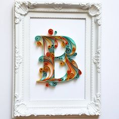 Quilled Paper Art Monogram, Personalized Gift, 3D Paper Art, Personalised Frame Monogram Gift, Quilling Art, Gift for Him, Gift for Her by Gericards on Etsy https://www.etsy.com/listing/545503613/quilled-paper-art-monogram-personalized