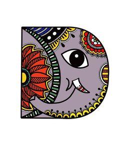 Monogram Digital Art - Madhubani D by Archa Malhotra Madhubani Art, Madhubani Painting, Doodle Art Drawing, Holi Drawing, Elephant Art, Tribal Elephant Drawing, Kalamkari Painting, Mandala Art Lesson, Indian Folk Art