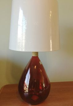 Red Glass Onion Shape Table Lamp Light by LampsReVampedandMore