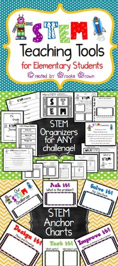 Brand New STEM Teaching Tools for Elementary Students! Organizers, Interactive Notebooking Tools, and Anchor Charts! | STEM Activities | STEM Challenges