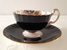 Aynsley Black Oban China Tea Cup & Saucer