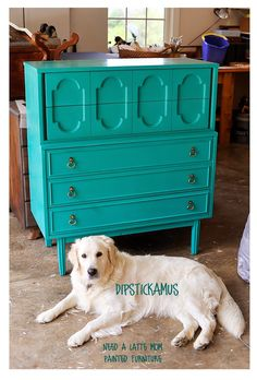 Need A Latte Mom: Mid-Century Modern Dresser in Florence with Clear Wax by Annie Sloan Chalk Paint (Asheville Furniture Painting)