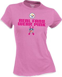 Pittsburgh Steelers Breast Cancer Awareness Women's Real Fan Cap Sleeve Tee