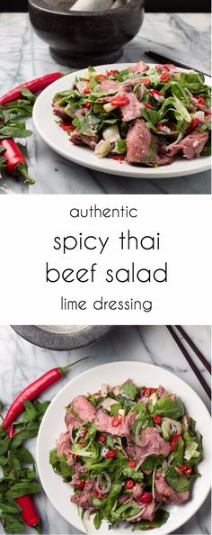 Spicy Thai beef salad with mint, chili and citrus dressing.