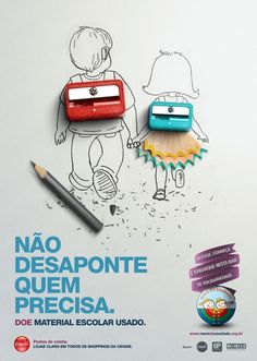 Campaign about used scholar supplies donations. in Advertising