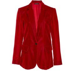 Jill Stuart Grace Velvet Blazer (896 370 LBP) ❤ liked on Polyvore featuring outerwear, jackets, blazers, red, blazer jacket, red velvet jacket, red jacket, red velvet blazer and peak lapel blazer