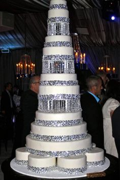 Tall bling wedding cake